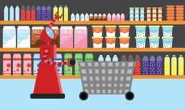 Domestic robot shopping at supermarket. Personal robot housekeeper futuristic concept illustration vector Royalty Free Stock Photo