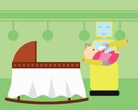 Domestic robot feeding newborn baby by bottle. royalty free illustration