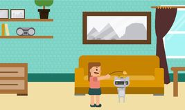 Domestic Robot with happy baby playing in the cradle. stock illustration