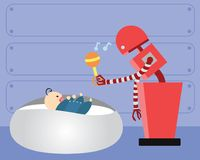 Domestic Robot playing with happy infant baby. Royalty Free Stock Images