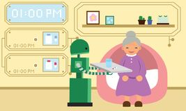 Domestic robot giving pills to grandmother. Stock Images