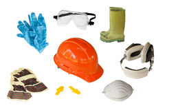 Personal safety equipment. Collection of personal safety equipment isolated on white vector illustration