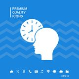 Personal schedule, time management, person with watch icon. Signs and symbols - graphic elements for your design Royalty Free Stock Image