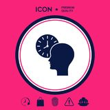 Personal schedule, time management, person with watch icon. Signs and symbols - graphic elements for your design Royalty Free Stock Photography