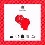 Personal schedule, time management, person with watch icon. Signs and symbols - graphic elements for your design Stock Images