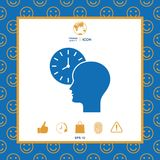 Personal schedule, time management, person with watch icon. Signs and symbols - graphic elements for your design vector illustration