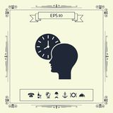 Personal schedule, time management, person with watch icon. Signs and symbols - graphic elements for your design royalty free illustration