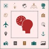 Personal schedule, time management, person with watch icon. Signs and symbols - graphic elements for your design stock illustration