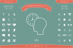 Personal schedule, time management, person with watch - line icon. Signs and symbols - graphic elements for your design Stock Photos