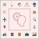 Personal schedule, time management, person with watch - line icon. Signs and symbols - graphic elements for your design vector illustration