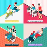 Personal Sport Trainer 2x2 Design Concept. Personal sport trainers 2x2 design concept with physical support strength exercises intensive training square icons Stock Photos