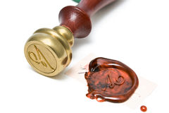 Personal stamp and wax seal. On white Stock Images