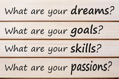 Personal strengths required for life job and career. What are your dreams, goals,skills, and passions? written on wood wall decor. Business Concept Royalty Free Stock Image