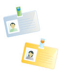Personal tags. ID tags of a man and a woman Royalty Free Stock Images