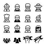 Personal, trabajo, trabajador, carrera, sistema del icono del Día del Trabajo stock de ilustración