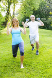 Personal trainer with client exercising. Female fitness instructor exercising with middle aged men in green park royalty free stock image
