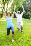Personal trainer with client exercising outdoors. Female fitness instructor exercising with middle aged men in green park stock images