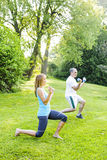 Personal trainer with client exercising outside. Female fitness instructor exercising with middle aged men outdoors in green park royalty free stock photo