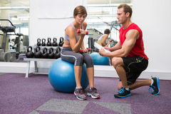 Personal trainer with client sitting on exercise ball lifting dumbbell. At the gym Stock Photography