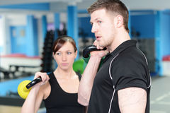 Personal trainer and client Royalty Free Stock Image
