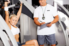 Personal trainer and customer stock image