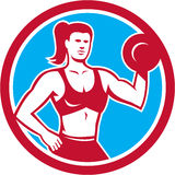 Personal Trainer Female Lifting Dumbbell Circle Royalty Free Stock Images