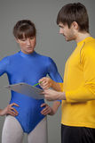Personal trainer giving instructions Royalty Free Stock Image
