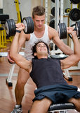 Personal trainer helping client in gym Stock Photo