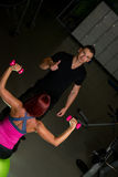 Personal trainer hold thumb up Royalty Free Stock Images
