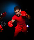 Personal trainer man coach and man exercising boxing Royalty Free Stock Image