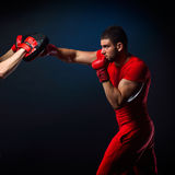 Personal trainer man coach and man exercising boxing Stock Photo
