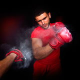 Personal trainer man coach and man exercising boxing Stock Photos
