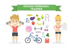 Personal trainer online. Personal fitness trainer online. Fit people. Remote self training Stock Photos