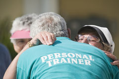 Personal trainer and seniors Royalty Free Stock Photos