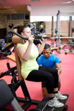 Personal trainer showing a woman Royalty Free Stock Image