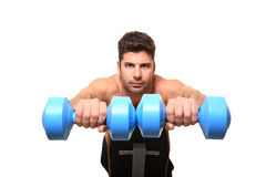 Personal trainer shows exercise. For hands Royalty Free Stock Images