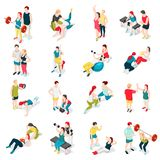 Personal Trainer Sport Icons. Personal sport trainer isometric icons set of isolated human characters of people performing exercises with coach vector Royalty Free Stock Images