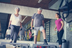 Personal trainer working exercise with senior couple. Workout in gym stock image