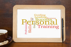 Personal training. Blackboard with personal coaching word cloud Royalty Free Stock Photo