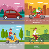 Personal Transport Concept. With automobile motorbike bicycle with natural landscape motorcycle on city background  vector illustration Stock Image