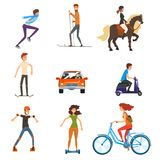 Personal transportation vehicles set, people on the street cartoon vector Illustration on a white background. Personal transportation vehicles set, people on the Stock Photo