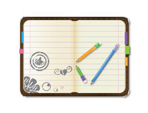 Personal vector organizer and pencil Stock Image