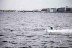 Personal watercraft rider on Neva, Saint-Petersburg stock photography
