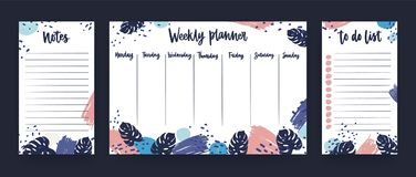 Personal weekly planner with week days, sheet for notes and to do list templates decorated with colorful paint smears. And exotic monstera leaves. Planning and Stock Photos