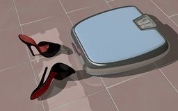 A personal weight scale with high heel mules Stock Image
