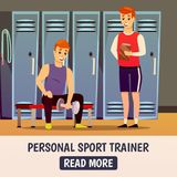 Personal Workout Background. With trainer and man during lifting of weights in sport room vector illustration Stock Photo