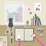 Personal workplace in flat design Stock Photos