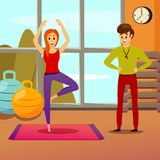 Personal Yoga Instructor Composition. With trainer and young woman in standing position on mat vector illustration Stock Photography