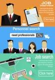 Personale che cerca, selezione, candidati d'intervista della donna e dell'uomo illustrazione vettoriale