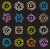 Personale decorativo di progettazione delle lettere dell'annata dell'emblema della lettera del monogramma di vettore porta-etiche illustrazione di stock